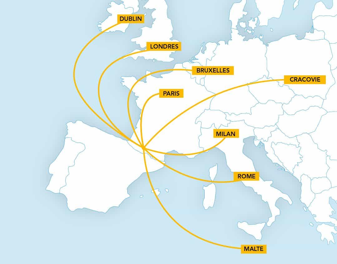 carte des destinations pyrénia
